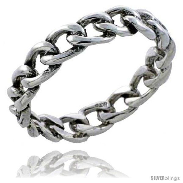 Size 6 - Sterling Silver Cable Chain Link Wedding Band Ring 3/16 in