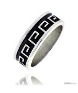 Size 13 - Sterling Silver Southwest Design Greek Key Pattern Ring 1/4 in  - $31.38