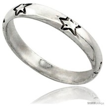 Size 7 - Sterling Silver Thin Stars Wedding Band  - $10.31