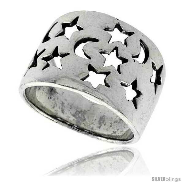 Sterling silver flat cigar band ring w moons stars cut outs 5 8 in wide