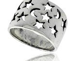 Sterling silver flat cigar band ring w moons stars cut outs 5 8 in wide thumb155 crop