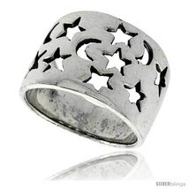 Size 9.5 - Sterling Silver Flat Cigar Band Ring w/ Moons & Stars Cut-out... - £22.68 GBP