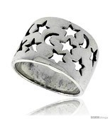 Size 9.5 - Sterling Silver Flat Cigar Band Ring w/ Moons & Stars Cut-out... - ₨2,024.60 INR