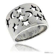 Sterling silver flat cigar band ring w moons stars cut outs 5 8 in wide thumb200