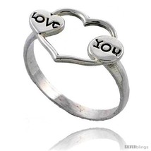 Size 6 - Sterling Silver LOVE Heart Ring 1/2 in  - $14.48