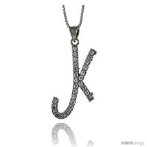 Sterling Silver Script Initial Letter K Alphabet Pendant with Cubic Zirconia  - $56.58