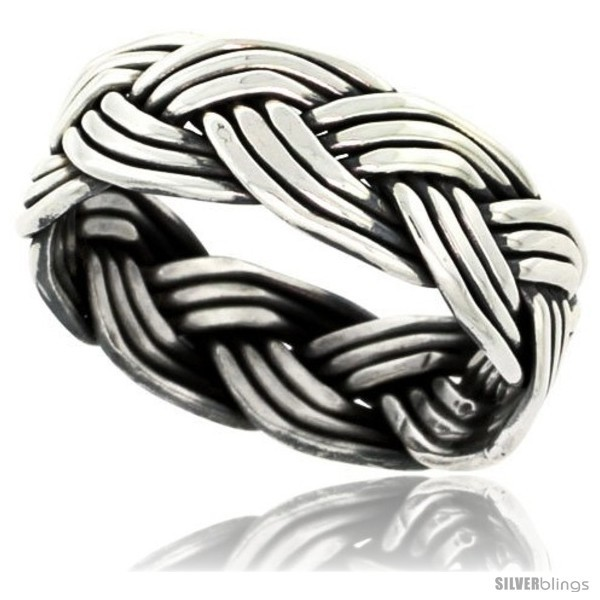 Primary image for Size 7 - Sterling Silver Southwest Design Wire Braid Band 5/16 in wide