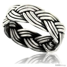 Size 7 - Sterling Silver Southwest Design Wire Braid Band 5/16 in wide  - $38.25