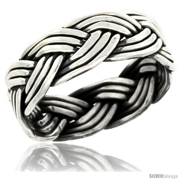 Size 7 - Sterling Silver Southwest Design Wire Braid Band 5/16 in wide