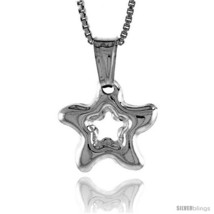 Sterling Silver Small Star with Cut Out Pendant, Made in Italy. 1/2 in. (13 mm)  - $14.09