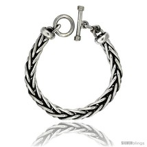 Length 8 - Sterling Silver Handmade Wheat Link Bracelet Toggle Clasp Han... - €455,60 EUR