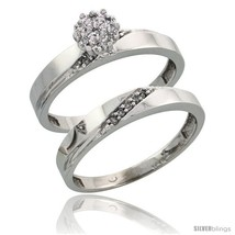 An item in the Jewelry & Watches category: Size 9.5 - 10k White Gold Diamond Engagement Rings Set 2-Piece 0.09 cttw