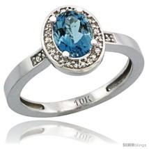 Size 5 - 14k White Gold Diamond London Blue Topaz Ring 1 ct 7x5 Stone 1/... - $385.35