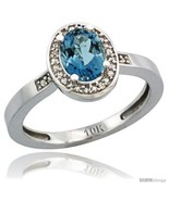 Size 5 - 14k White Gold Diamond London Blue Topaz Ring 1 ct 7x5 Stone 1/... - $385.35