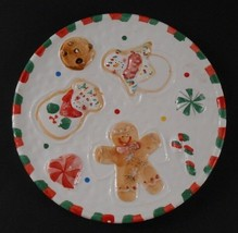 Santa Claus Christmas Holiday Cookie Plate Snowman Gingerbread Man Red G... - $4.94