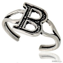 Sterling Silver Initial Letter B Alphabet Toe Ring / Baby Ring, Adjustable  - $10.53