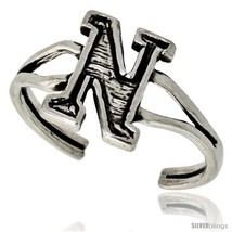 Sterling Silver Initial Letter N Alphabet Toe Ring / Baby Ring, Adjustable  - $10.53