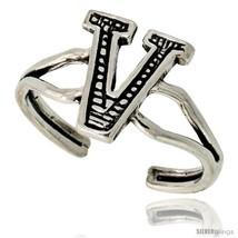 Sterling Silver Initial Letter V Alphabet Toe Ring / Baby Ring, Adjustable  - $10.53