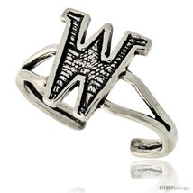Sterling Silver Initial Letter W Alphabet Toe Ring / Baby Ring, Adjustable  - $10.53