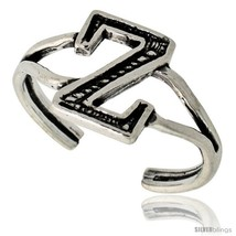 Sterling Silver Initial Letter Z Alphabet Toe Ring / Baby Ring, Adjustable  - $10.53