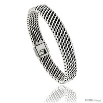 Sterling Silver Flat Tight Mesh Bracelet, 11mm wide with Fold Over Clasp 7 3/8  - $280.10