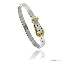 Sterling Silver & Brass Two Tone Belt Buckle Bangle Bracelet 1/4 in  - $165.15