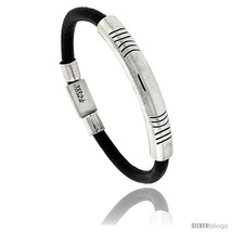 Sterling Silver w/ Leather Soft Bangle Bracelet 5/16 in wide, 8 -Style  - $121.41