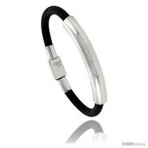Sterling Silver w/ Leather Soft Bangle Bracelet 5/16 in wide,  - $121.59
