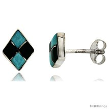 Sterling Silver Handcrafted Blue Turquoise Diamond-shaped Stud Earrings  - $34.34