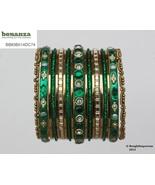 Girls Bangles Bracelets Green Gold Set Size 2.0 Indian Kids Metal Party ... - $6.99