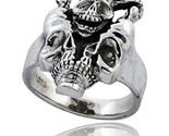 Sterling silver gothic biker horned skull ring 7 8 in wide thumb155 crop
