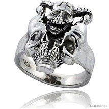 Size 8 - Sterling Silver Gothic Biker Horned Skull Ring 7/8 in  - $58.82