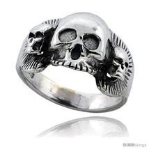 Size 13 - Sterling Silver Gothic Biker Triple Skull Ring 5/8 in  - $48.88