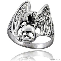 Size 7 - Sterling Silver Vulture with Skull Gothic Biker Ring 1 in  - $31.82