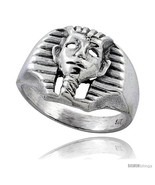 Size 10.5 - Sterling Silver King Tut's Mask Gothic Biker Ring, 5/8 in  - $40.03