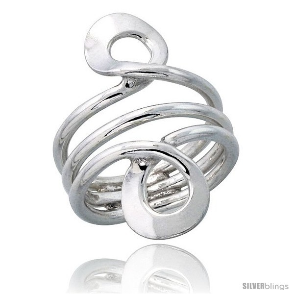 Size 6 - Sterling Silver Hand Made, Freeform Wire Wrap Ring, 1 1/4 in (34 mm)