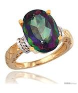Size 6 - 10k Yellow Gold Diamond Mystic Topaz Ring 5.5 ct Oval 14x10  - $606.07