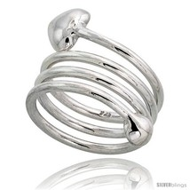 Size 7 - Sterling Silver Spiral Hand Made Snake, Wire Wrap Ring, w/ Hear... - $31.71