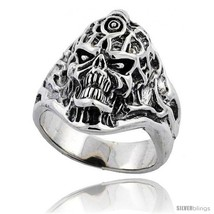 Size 11 - Sterling Silver Tattooed Skull Ring 1 1/8 in  - $107.33