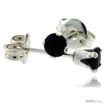 Sterling Silver Brilliant Cut Cubic Zirconia Stud Earrings 3 mm Black Color 1/4  - $5.86