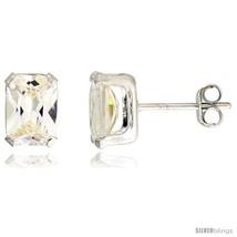 Sterling Silver Cubic Zirconia Stud Earrings 2 cttw Emerald  - $12.90