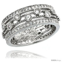 Size 6 - Sterling Silver Vintage Style Ring Band w/ Brilliant Cut CZ Sto... - $51.55