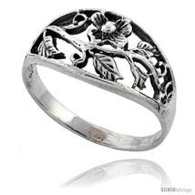 Size 7.5 - Sterling Silver Flower Vine Ring 7/16 in  - $11.58