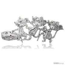 Sterling Silver Three Blind Mice Brooch Pin, 2 7/8in  (73 mm)  - $118.26