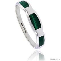 Sterling Silver Malachite Inlay Bangle Bracelet Handmade, 9/16 in  - $265.39