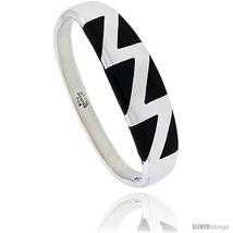 Sterling Silver Black Obsidian Inlay Bangle Bracelet Zigzag Pattern Handmade,  - $292.07