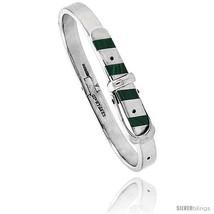 Sterling Silver Malachite Inlay Belt Buckle Bangle Bracelet Handmade, 1/4 in  - $262.66
