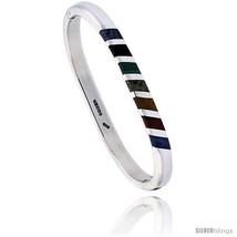 Sterling Silver Multi Color Stone Inlay Striped Bangle Bracelet Handmade, 1/4  - $216.14