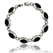 Sterling Silver Oval Black Obsidian Stone Link 7 Bracelet 1/2 in  - $159.37