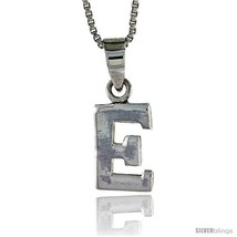 Sterling Silver Block Initial Letter E Aphabet Pendant Highly Polished, 1/2 in  - $17.00